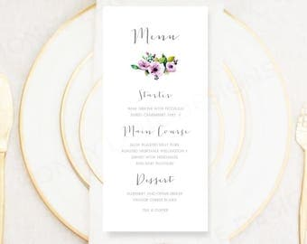 Personalised Printable Wedding Menu Card, Rose Collection