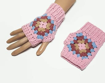 Crochet Wrist Warmers, Granny Square, Fingerless Gloves, Crochet Gloves, Fingerless Mittens, wristwarmers, granny square gloves