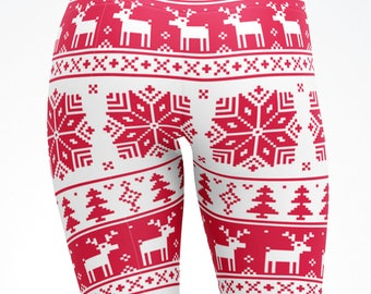 Adult and Kids Christmas Leggings PINK Xmas Reindeer Mommy and Me Yoga Pants, Capris, Children Teen Matching dance pants, active wear 5084