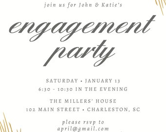 Engagement Party Invitation - Engagement Invite, Couples Engagement Party, Gold Leaf, Engagement Shower, Wedding Shower, Couples Shower