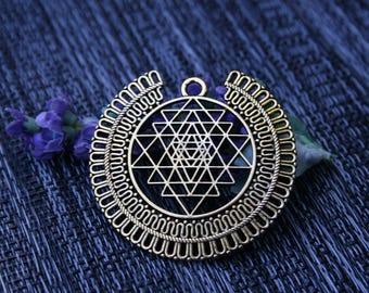 Gold Sri Yantra Pendant - Gold geometrical necklace, Healing jewelry, Sacred geometry pendant, shree yantra spiritual