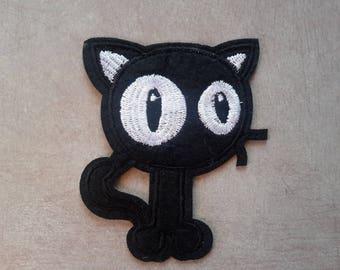 Patch fusible cat kawaii black cat, fusible Applique Patch, 8 x 7 cm