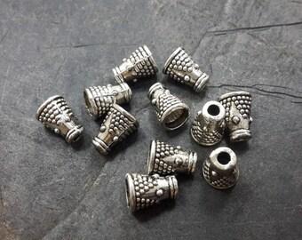 Bead caps cones ethnic antique vintage, caps, silver Metal caps, 7.5x5.5 mm