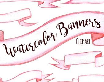 Pink Watercolor Banner Ribbon Clip Art, Ribbon Clipart, DIGITAL DOWNLOAD, Hand Painted Banners, Individual Files Clip Art, Pink Ribbon Art