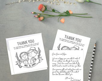 Instant Download Thank You - Wedding Thank You Postcards - Printable Thank You Template - Wedding Thank You - Thank You Card Ideas -
