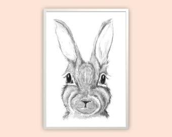 rabbit print, bunny print, scandi print, scandi rabbit print, scandi rabbit art, nursery art, nursery print, bunny art, rabbit