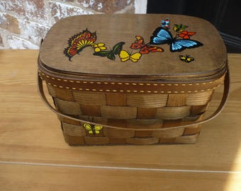 SIGNED Caro Nan Vintage Picnic Basket Handbag, Butterfly Design