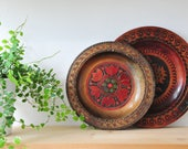 hand carved wooden plates, folk art plates, wall decor, rustic plates, wooden plate, wood wall decor, painted plate, hand painted CAS78