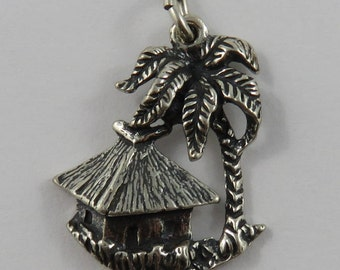 Aruba Hut With Palm Tree Sterling Silver Vintage Charm For Bracelet