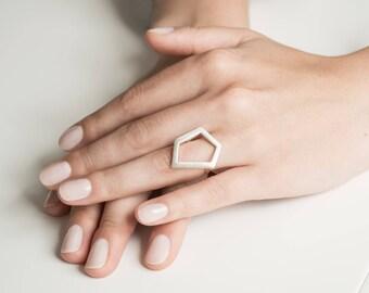 Geometric ring, silver ring, minimalist ring, pentagon ring, handmade ring, statement ring, gift for her, elegant ring,