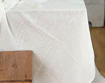 Linen gauze tablecloth / Off white linen table cloth / Wedding tablecloth / Sheer fabric / Ivory tablecloth / Custom size tablecloth