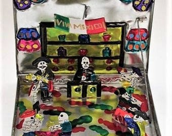 Day of the Dead Tin Fold-Out ,Pop Up Bar Scene // Mariachi // Mexican Folk Art // Punched Tin Folk Art
