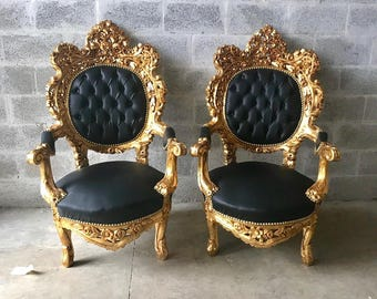 Black Tufted Chair Antique Settee Italian Rococo Furniture Throne Chairs *3  Piece Set Avail*