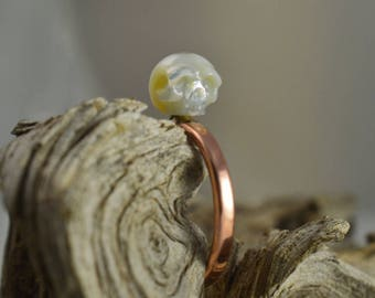 14k Rose Gold Ring With White Hand Carved Pearl Skull - Christmas Gift - Holiday Gift - Unique - Skull Jewelry - Halloween - Skull Ring