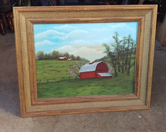 Vintage barn panting on canvas signed jolie,farmhouse country scene,cabin home wall hanging decor,wooden frame marked grumbacher