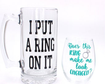 Engagement Gift For Couples, Engagement Wine Glass, Engagement Beer Mug, Custom Mug, Custom Wine Glass, Stemless Wine Glass, Fiance Gift