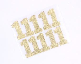 Gold 1 Glitter Number Stickers, One Gold Number Stickers, Any Size Glitter Stickers, Custom Glitter Stickers, Gold Glitter Stickers