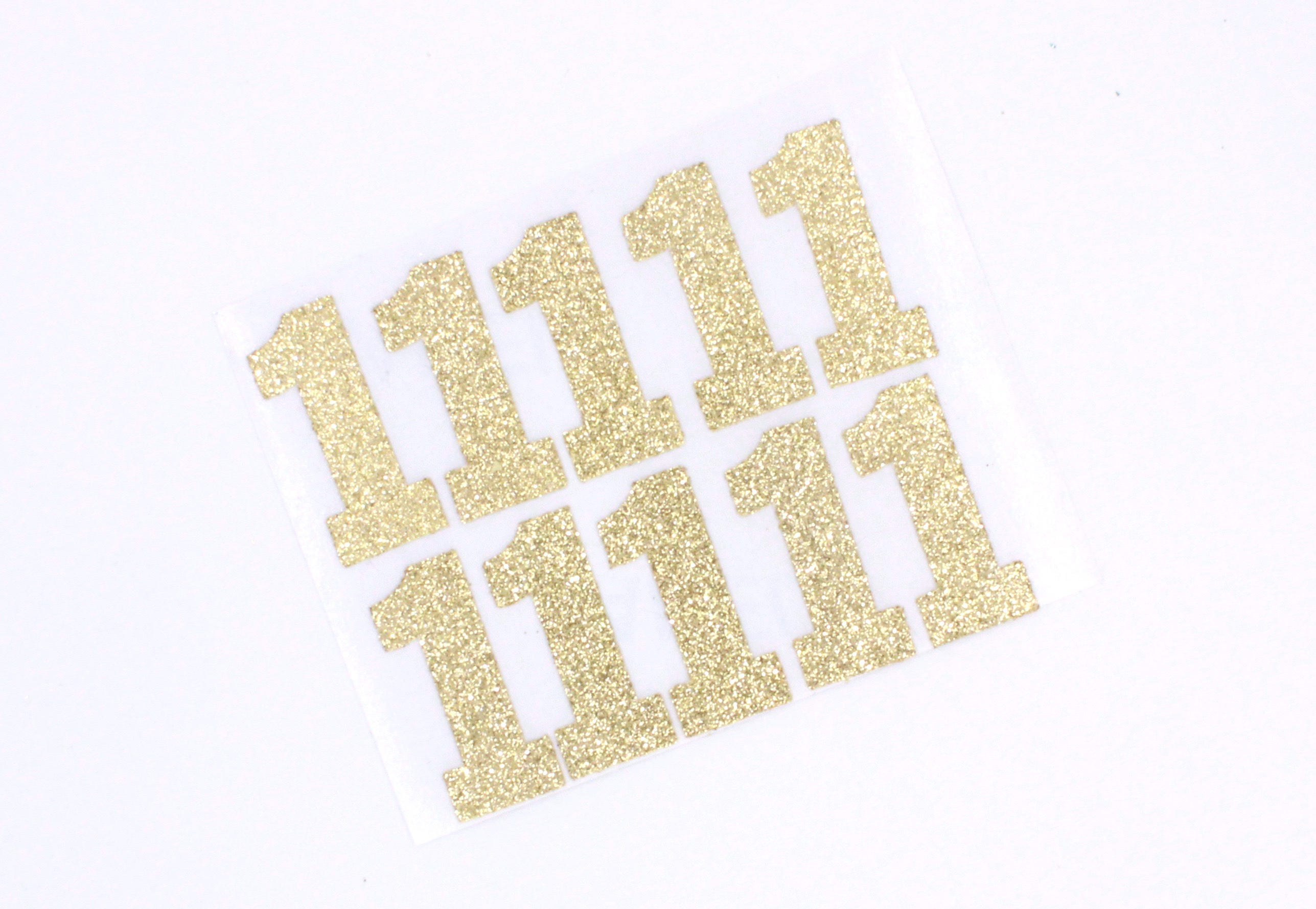 Gold Glitter Number Stickers One Gold Number Stickers Any Size - Custom glitter stickers
