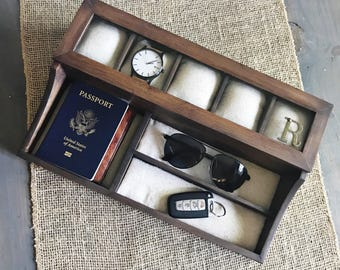 Watch Box - Watchbox - 5 Compartment Watch Box - Valet Watch Box - Men's Valet - Watch Storage - Watch Organizer - Anniversary Gift