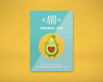 Avocado Enamel Pin, Vegan Enamel Pin, Kawaii Pin, Cute Enamel Pin, Vegetarian Enamel Pin, Lapel Pin, Food Enamel Pin, Enamel Pin Badge