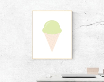 Green Ice Cream Cone, Digital Print, Ice Cream Cone Art, Digital Download, Ice Cream Cone Wall Art, Wall Prints, Printable Art