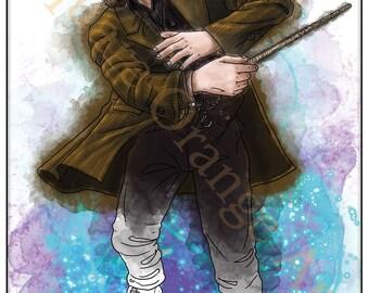 Gary Oldman as Sirius Black Padfoot Original Splash Style A4 Horror Potter Print