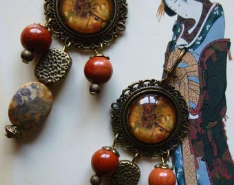 """Earrings style Japanese """"KYOTO"""" illustrated, glass cabochon gemstones, bronze metal"""