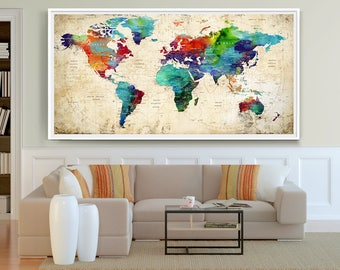 world map wall decal etsy. Black Bedroom Furniture Sets. Home Design Ideas