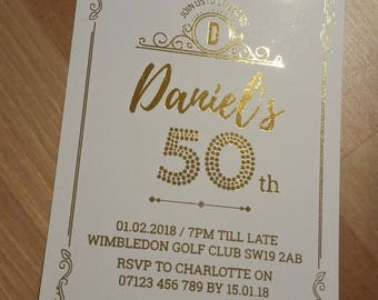 Gold Foiled Personalised Birthday Party Invitations Any Age + Envelopes 21st 30th 40th 50th 60th Stylish Real Foil White Metallic Script