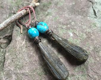 Rustic Turquoise earrings, epidote jewelry, long Turqoise dangles, brown stones