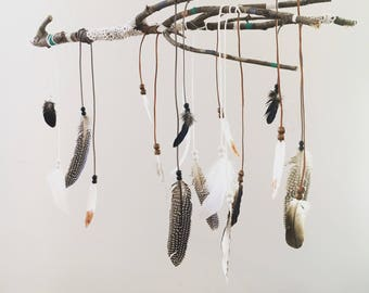 Gypsy Baby - Feather Dreamcatcher mobile (mint/copper/white/grey)