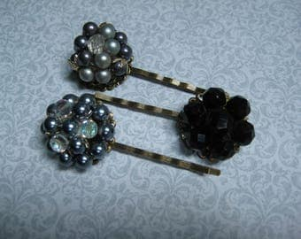 vintage hair pins, bobby pins, bobbies, grips slides, set of 3, black gray, bridesmaids, recycled upcycled, repurposed reclaimed, ooak/hp136