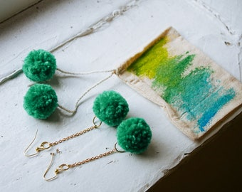 SALE Pom Pom Set with Dangle Earrings and Watercolor Bag GREEN