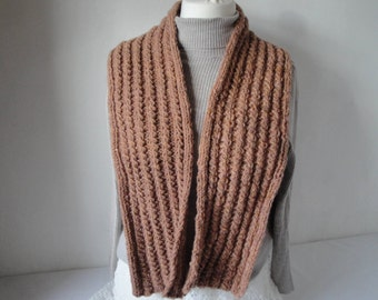 cable knit scarf, unisex muffler, tweedy neck-warmer, soft orange scarf, pure wool accessory, rugged texture scarf, gift for him or her