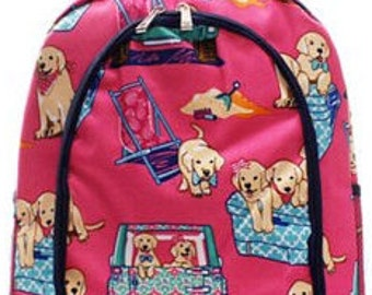 Pink Puppy/Dog Backpack/Bookbag - Personalized/Monogrammed
