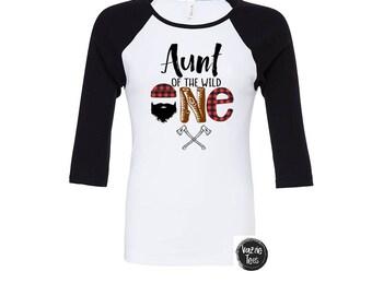 Aunt of the Wild One - Lumberjack Birthday Shirt - Wild Birthday Shirt - Birthday Shirt - Plaid - Aunt of the Birthday Boy - Auntie Shirts