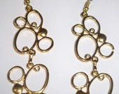 Bright Gold Plated Bubble Swirl Cluster Filigree Hanging Earrings