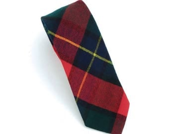 Rooster vintage tartan wool flannel neck tie, made in the USA