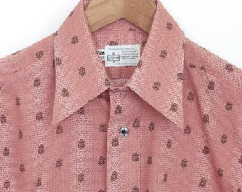 Size ~M - Deadstock 1970's VTG K-Mart Permanent Press point collar shirt