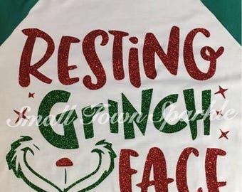 Resting Grinch Face Raglan Tee