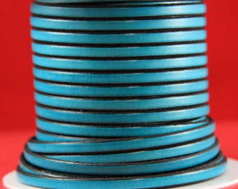 MADE in EUROPE 1 yard of 5mm flat leather cord, genuine leather 5mm strip, teal flat leather cord (221/05/08)