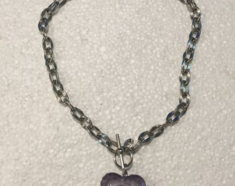 Lucite Puff Heart Pendant Choker With Swarovski Crystals