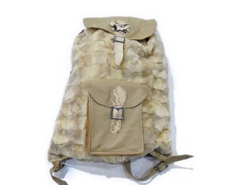 Beige fur backpack, Modern teenager gift F207