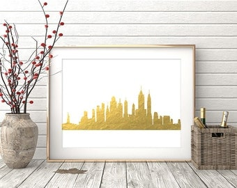 New York Print, New York Wall Art, New York Skyline, New York City Gold Foil Texture, Modern Wall Art, Gift, Home Office Decor Printable Art