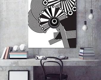 Geometric Modern Black and White Art Poster Print