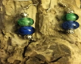 Earrings~Dangle~Drop~Silver Tone~Blue~Green~Gemstones~Holiday Gifts~Christmas