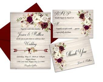 Marsala Wedding Invitation Ivory Rustic Printable Boho Burgundy Floral Country Fall