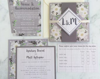 Sample Wedding Invitation, Wedding Stationery Set, Pretty Wedding Invite, Wedding Invite Sample, Floral Watercolour Invitation