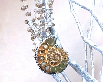 Ammonite Fossil Necklace nautilus shell pendant necklace pave crystal necklace beaded earthy jewelry simple modern necklace beach rustic
