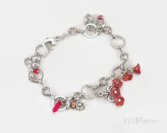 Stainless steel bracelet with charms, bohemian glass flowers and metal charms - An 123Pierres jewel by MP Bertrand